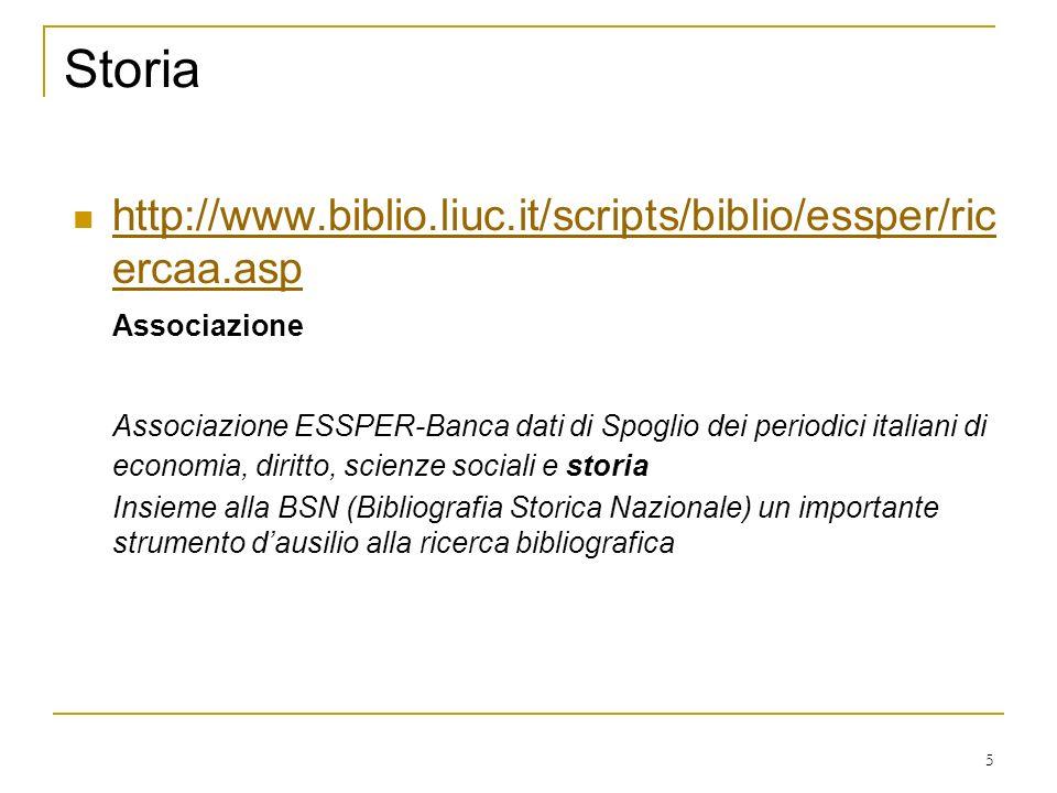 5 Storia http://www.biblio.liuc.it/scripts/biblio/essper/ric ercaa.asp http://www.biblio.liuc.it/scripts/biblio/essper/ric ercaa.asp Associazione Associazione ESSPER-Banca dati di Spoglio dei periodici italiani di economia, diritto, scienze sociali e storia Insieme alla BSN (Bibliografia Storica Nazionale) un importante strumento dausilio alla ricerca bibliografica