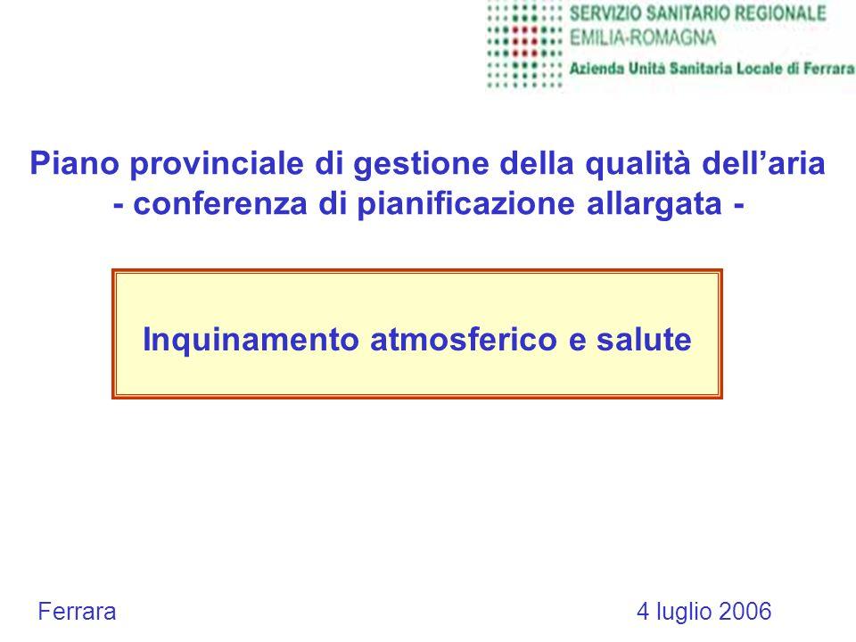 Piano provinciale di gestione della qualità dellaria - conferenza di pianificazione allargata - Inquinamento atmosferico e salute Ferrara 4 luglio 2006