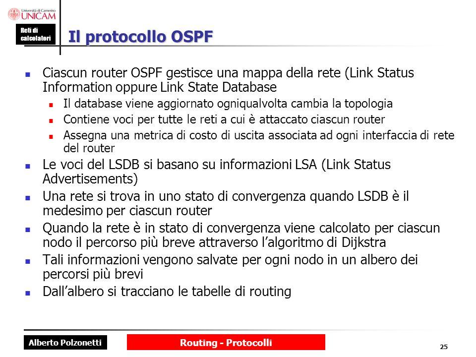 Alberto Polzonetti Reti di calcolatori Routing - Protocolli 25 Il protocollo OSPF Ciascun router OSPF gestisce una mappa della rete (Link Status Infor