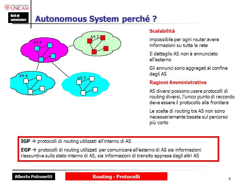 Alberto Polzonetti Reti di calcolatori Routing - Protocolli 3 Autonomous System perché ? Scalabilità impossibile per ogni router avere informazioni su