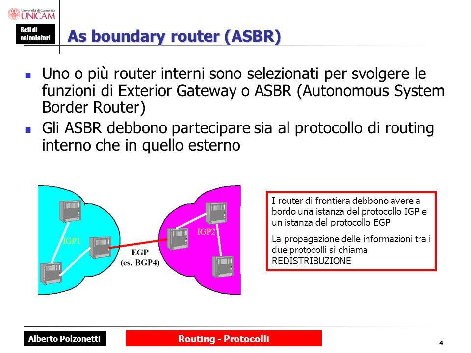 Alberto Polzonetti Reti di calcolatori Routing - Protocolli 4 As boundary router (ASBR) Uno o più router interni sono selezionati per svolgere le funz