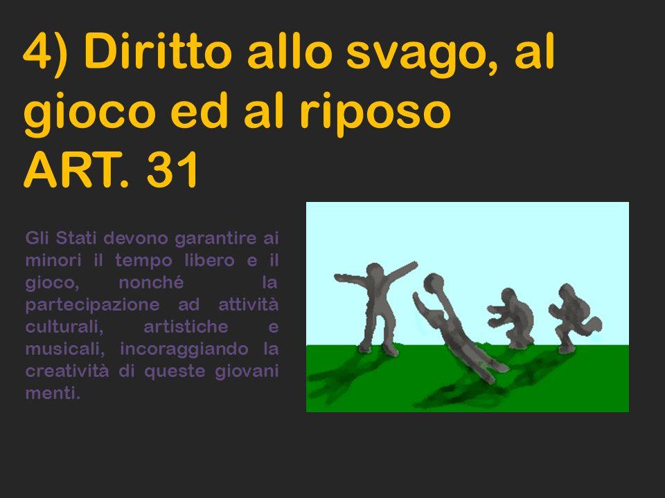 4) Diritto allo svago, al gioco ed al riposo ART. 31 Gli Stati devono garantire ai minori il tempo libero e il gioco, nonché la partecipazione ad atti