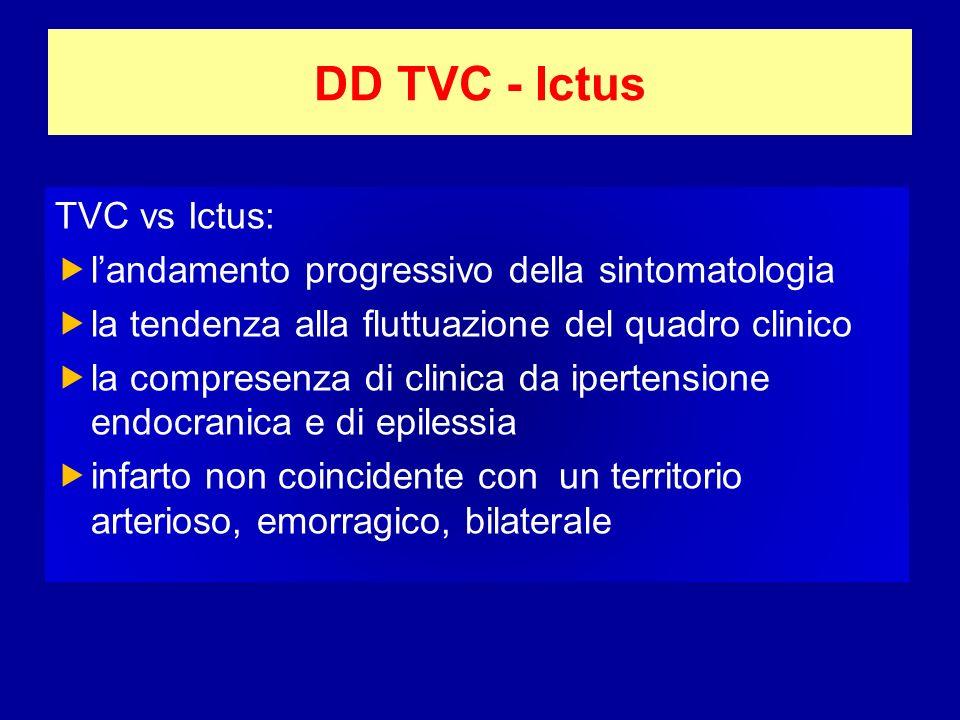 DD TVC - Ictus TVC vs Ictus: landamento progressivo della sintomatologia la tendenza alla fluttuazione del quadro clinico la compresenza di clinica da