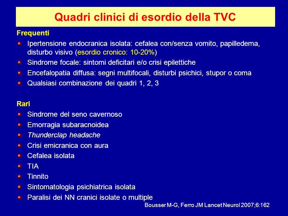 Quadri clinici di esordio della TVC Frequenti Ipertensione endocranica isolata: cefalea con/senza vomito, papilledema, disturbo visivo (esordio cronic