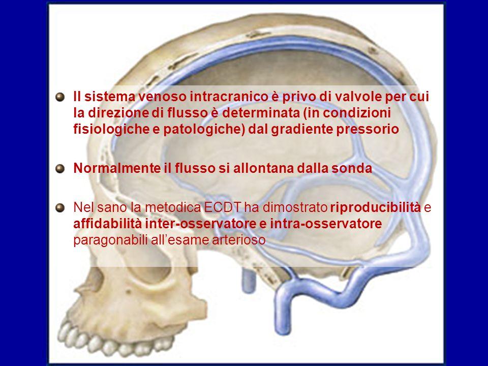 Il sistema venoso intracranico è privo di valvole per cui la direzione di flusso è determinata (in condizioni fisiologiche e patologiche) dal gradient