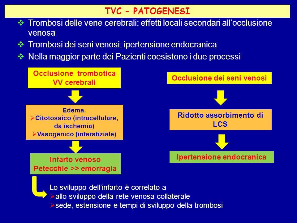 Trombosi delle vene cerebrali: effetti locali secondari allocclusione venosa Trombosi dei seni venosi: ipertensione endocranica Nella maggior parte de