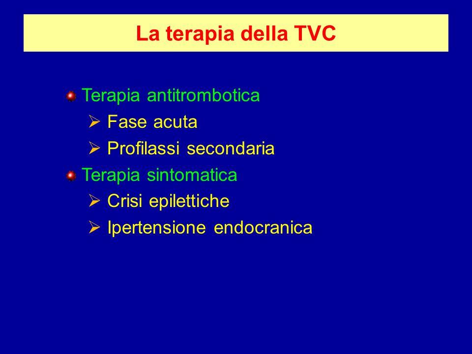 La terapia della TVC Terapia antitrombotica Fase acuta Profilassi secondaria Terapia sintomatica Crisi epilettiche Ipertensione endocranica