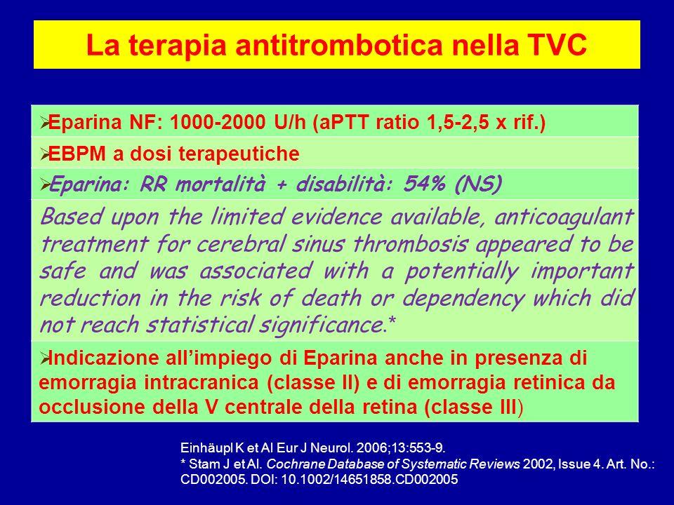 La terapia antitrombotica nella TVC Eparina NF: 1000-2000 U/h (aPTT ratio 1,5-2,5 x rif.) EBPM a dosi terapeutiche Eparina: RR mortalità + disabilità: