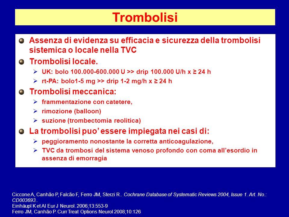 Trombolisi Assenza di evidenza su efficacia e sicurezza della trombolisi sistemica o locale nella TVC Trombolisi locale. UK: bolo 100.000-600.000 U >>