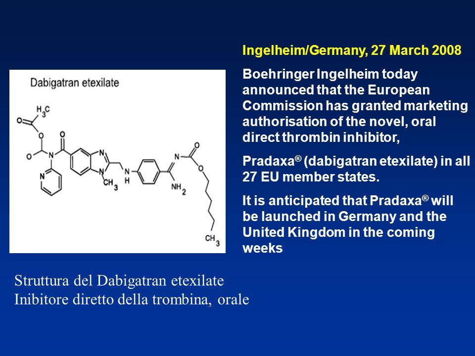 Struttura del Dabigatran etexilate Inibitore diretto della trombina, orale Ingelheim/Germany, 27 March 2008 Boehringer Ingelheim today announced that