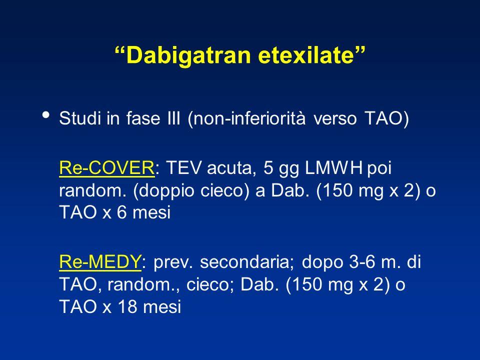 Dabigatran etexilate Studi in fase III (non-inferiorità verso TAO) Re-COVER: TEV acuta, 5 gg LMWH poi random. (doppio cieco) a Dab. (150 mg x 2) o TAO