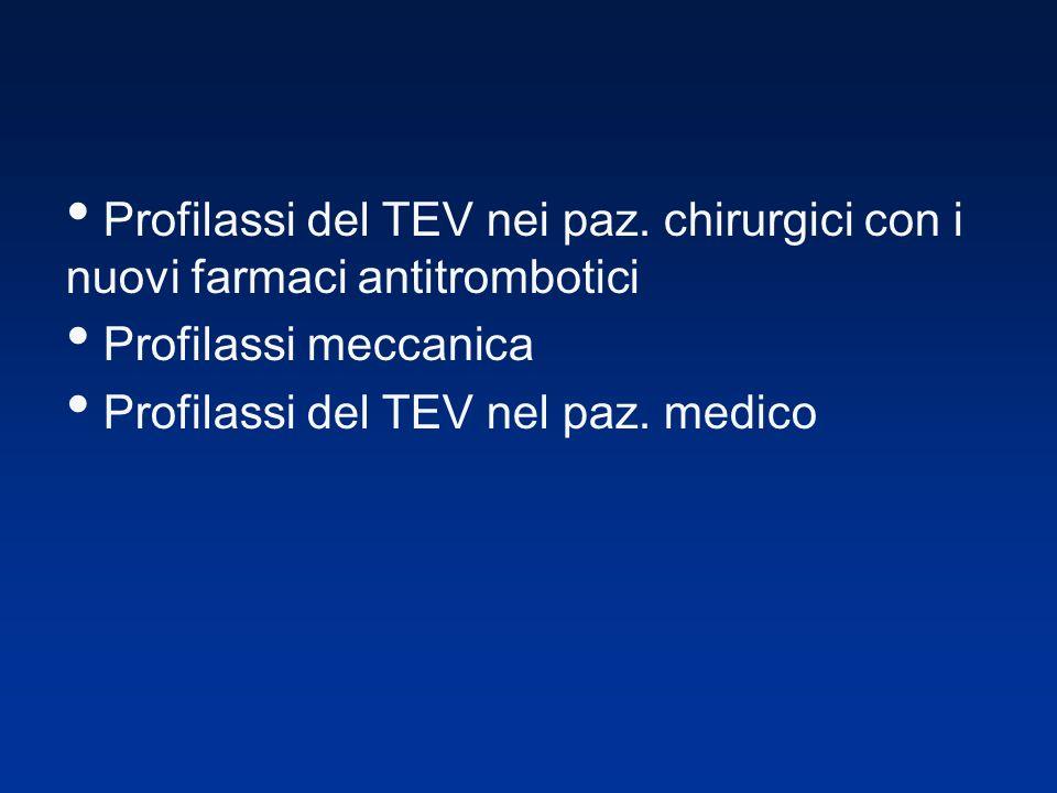 Profilassi del TEV nei paz. chirurgici con i nuovi farmaci antitrombotici Profilassi meccanica Profilassi del TEV nel paz. medico