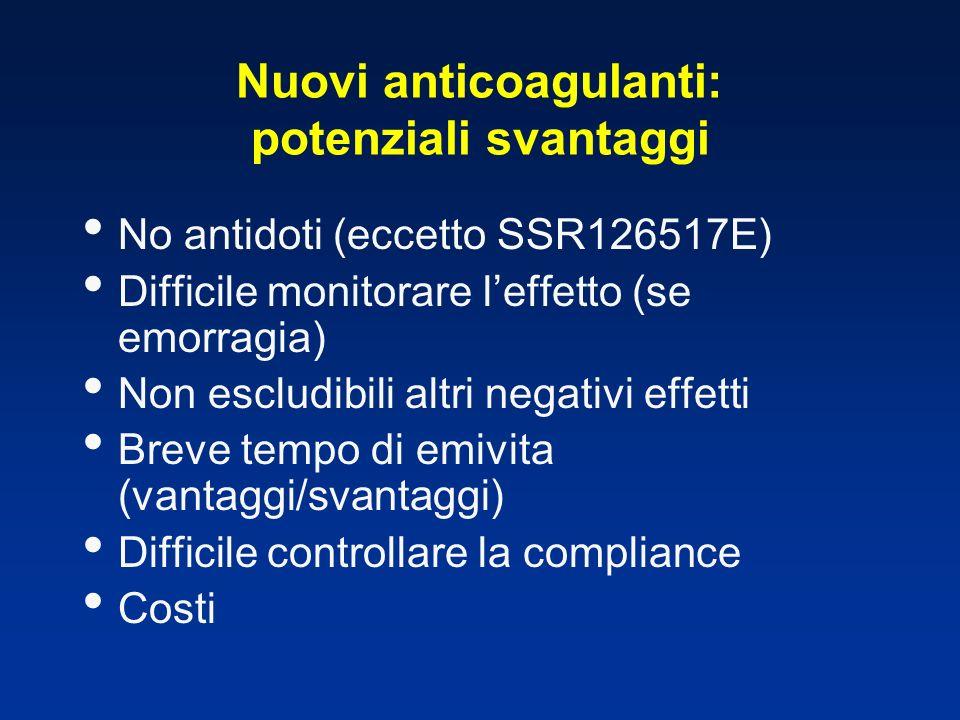 Nuovi anticoagulanti: potenziali svantaggi No antidoti (eccetto SSR126517E) Difficile monitorare leffetto (se emorragia) Non escludibili altri negativ