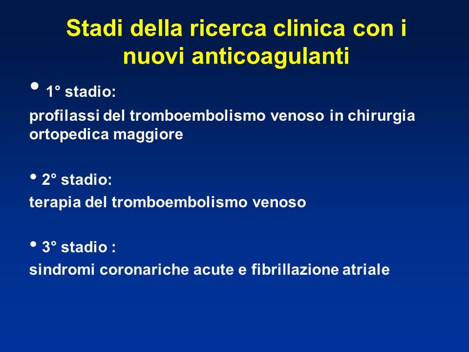 Stadi della ricerca clinica con i nuovi anticoagulanti 1° stadio: profilassi del tromboembolismo venoso in chirurgia ortopedica maggiore 2° stadio: te