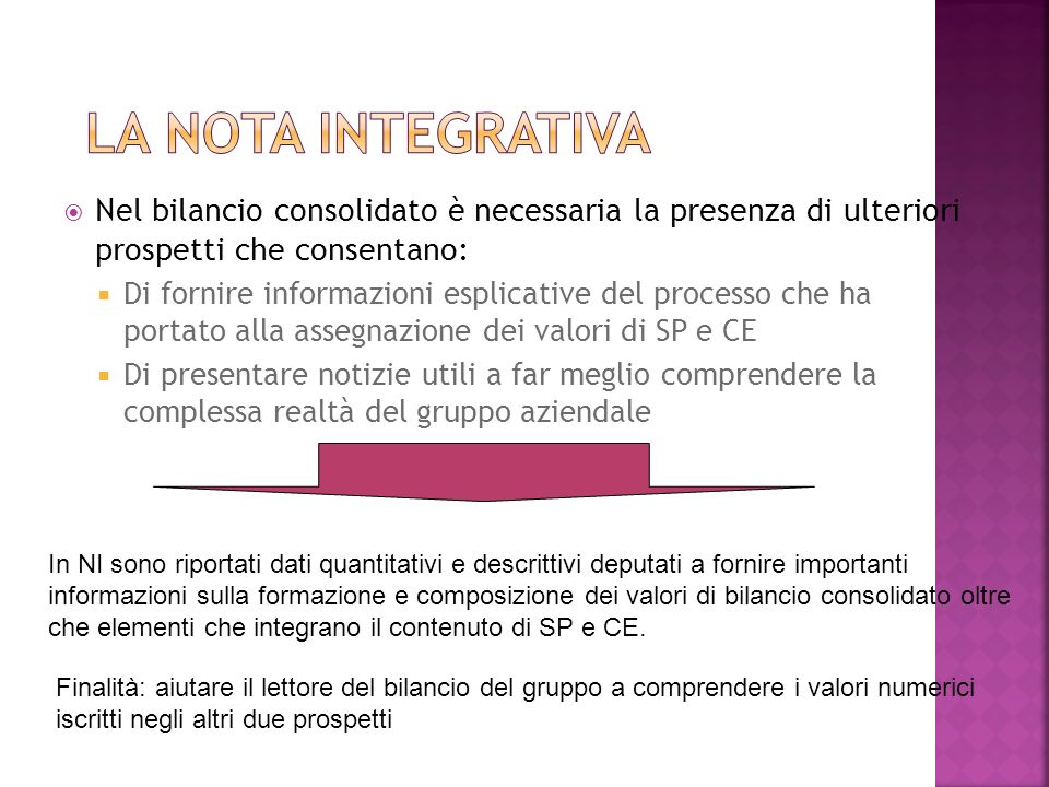 Nel bilancio consolidato è necessaria la presenza di ulteriori prospetti che consentano: Di fornire informazioni esplicative del processo che ha porta