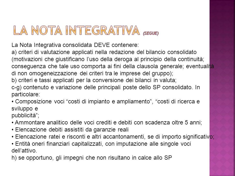 La Nota Integrativa consolidata DEVE contenere: a) criteri di valutazione applicati nella redazione del bilancio consolidato (motivazioni che giustifi
