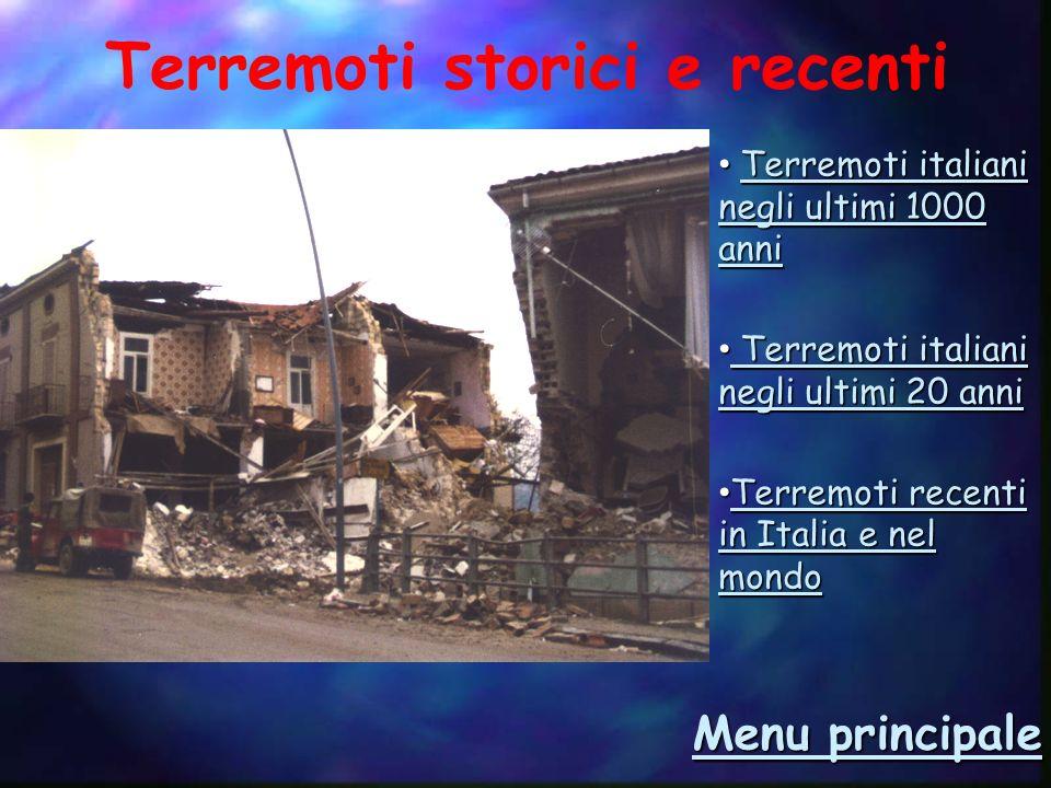 Terremoti italiani negli ultimi 1000 anni Terremoti del passato Menu 23-11-1980 28-12-1908