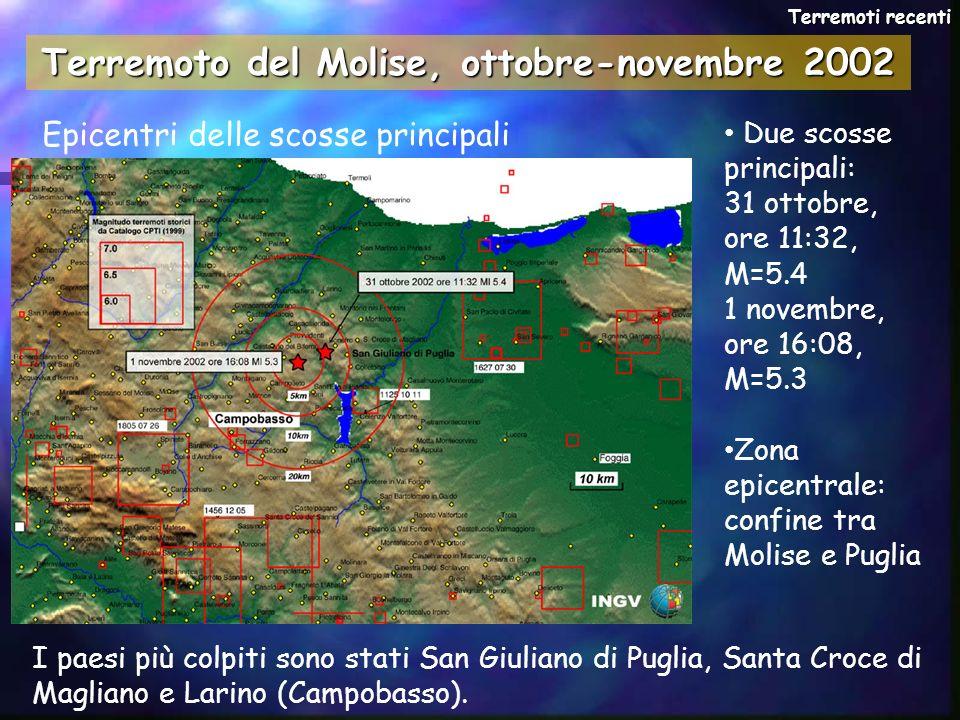 Terremoto del Molise, ottobre-novembre 2002 Epicentri delle scosse principali Terremoti recenti Due scosse principali: 31 ottobre, ore 11:32, M=5.4 1