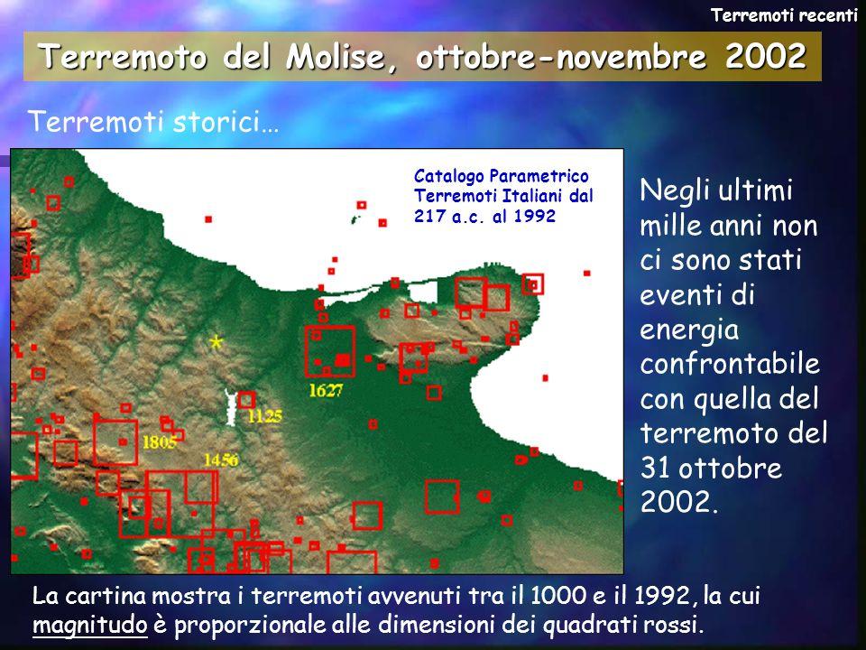 Terremoti storici… Negli ultimi mille anni non ci sono stati eventi di energia confrontabile con quella del terremoto del 31 ottobre 2002. Terremoti r