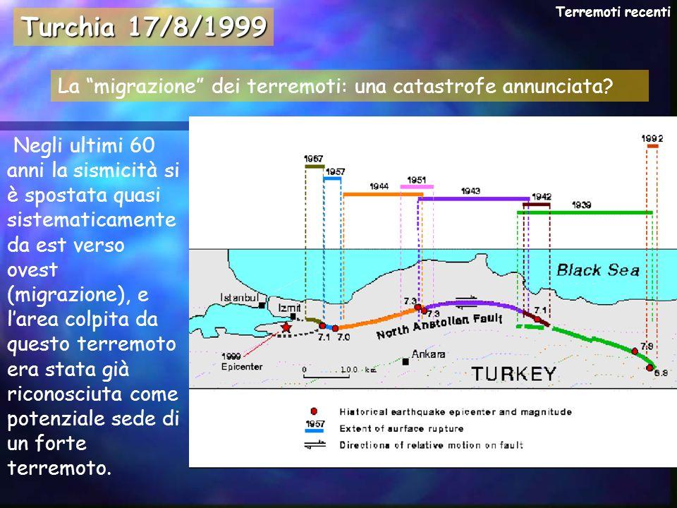 Negli ultimi 60 anni la sismicità si è spostata quasi sistematicamente da est verso ovest (migrazione), e larea colpita da questo terremoto era stata