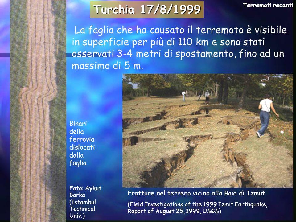 La faglia che ha causato il terremoto è visibile in superficie per più di 110 km e sono stati osservati 3-4 metri di spostamento, fino ad un massimo d