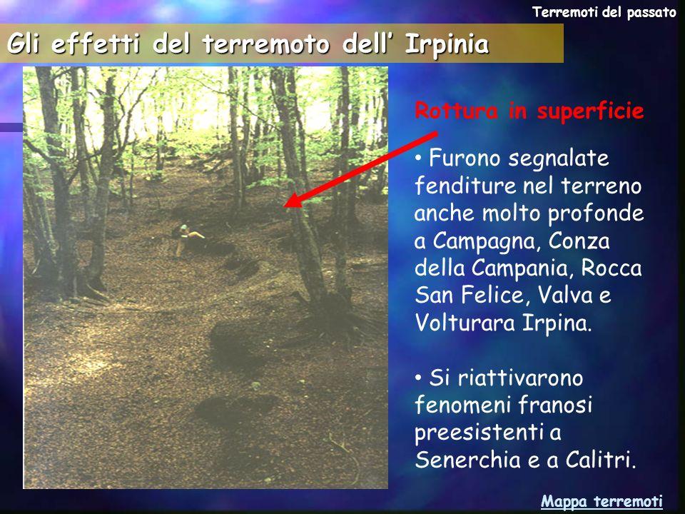 Rottura in superficie Furono segnalate fenditure nel terreno anche molto profonde a Campagna, Conza della Campania, Rocca San Felice, Valva e Volturar