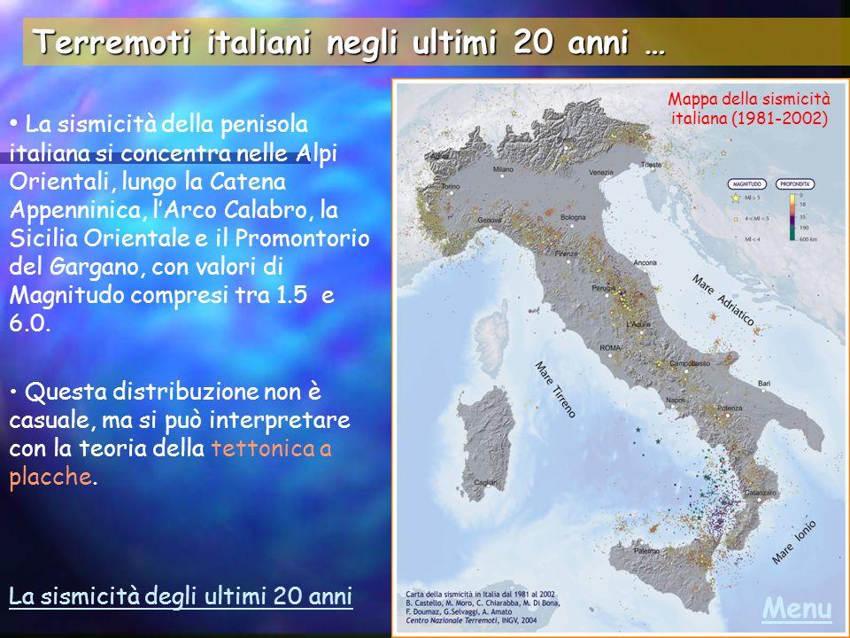 Terremoti recenti Umbria-Marche 26/9/1997 Turchia 17/8/1999 http://earthquake.usgs.gov/activity/world.html …e nella rete in Italia… …nel mondo http://www.ingv.it http://www.emsc-csem.org Molise ottobre-novembre 2002 Terremoti recentissimi Menu Aggiornamenti…