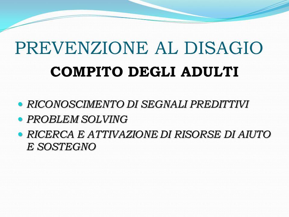 PREVENZIONE AL DISAGIO COMPITO DEGLI ADULTI RICONOSCIMENTO DI SEGNALI PREDITTIVI RICONOSCIMENTO DI SEGNALI PREDITTIVI PROBLEM SOLVING PROBLEM SOLVING
