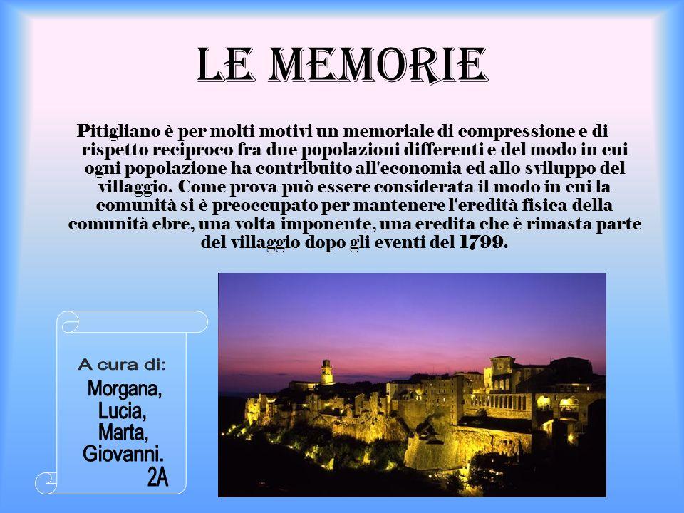 Le Memorie Pitigliano è per molti motivi un memoriale di compressione e di rispetto reciproco fra due popolazioni differenti e del modo in cui ogni po
