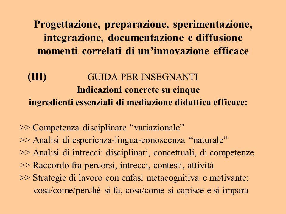 Progettazione, preparazione, sperimentazione, integrazione, documentazione e diffusione momenti correlati di uninnovazione efficace (III) GUIDA PER IN