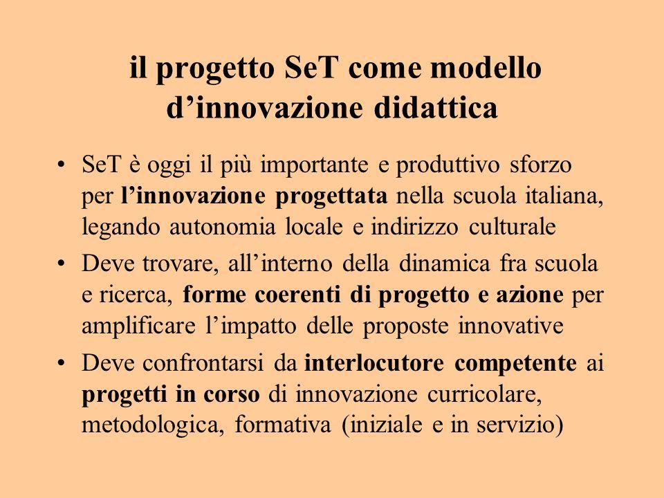 il progetto SeT come modello dinnovazione didattica SeT è oggi il più importante e produttivo sforzo per linnovazione progettata nella scuola italiana