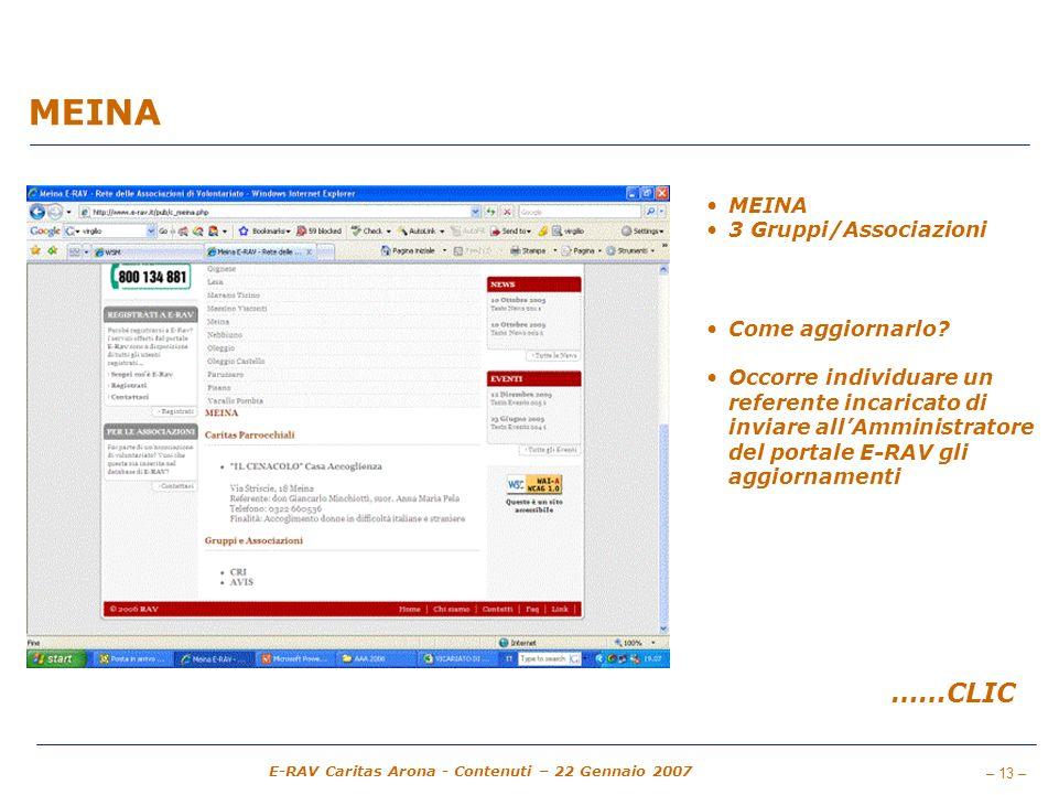 – 13 – E-RAV Caritas Arona - Contenuti – 22 Gennaio 2007 MEINA 3 Gruppi/Associazioni Come aggiornarlo? Occorre individuare un referente incaricato di