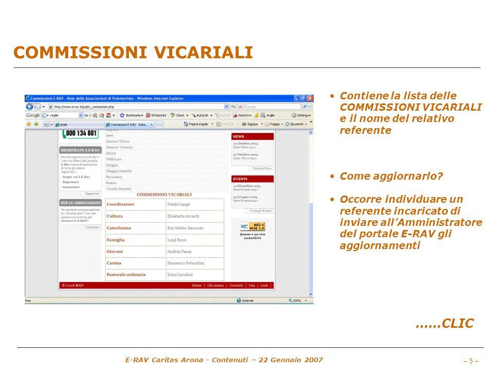 – 5 – E-RAV Caritas Arona - Contenuti – 22 Gennaio 2007 COMMISSIONI VICARIALI Contiene la lista delle COMMISSIONI VICARIALI e il nome del relativo ref