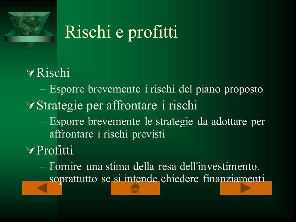 Rischi e profitti Rischi –Esporre brevemente i rischi del piano proposto Strategie per affrontare i rischi –Esporre brevemente le strategie da adottar