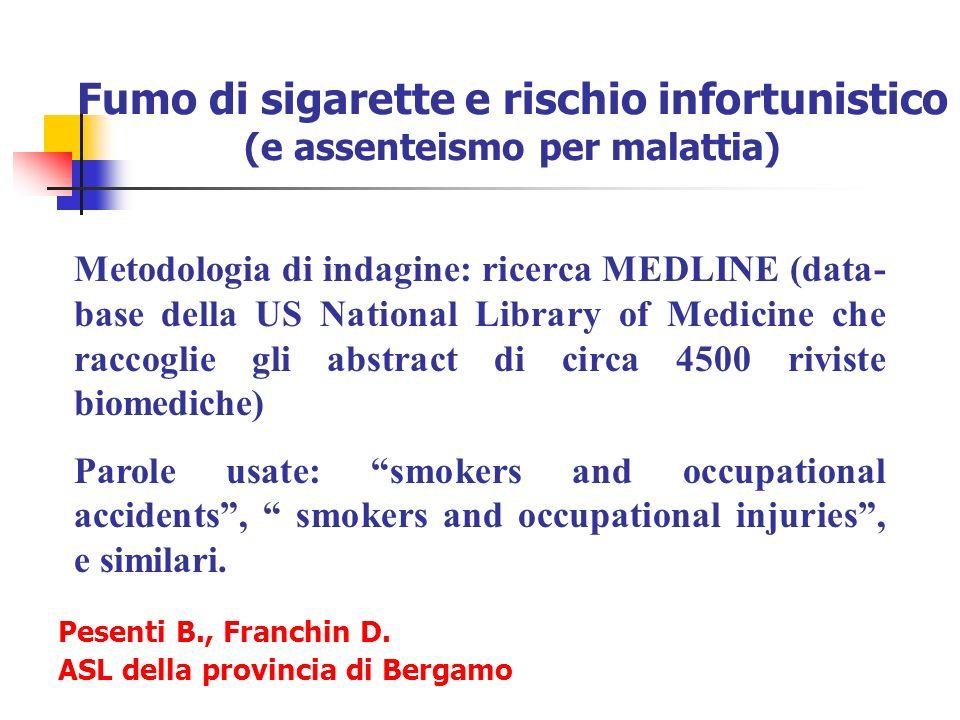 Fumo di sigarette e rischio infortunistico (e assenteismo per malattia) Metodologia di indagine: ricerca MEDLINE (data- base della US National Library