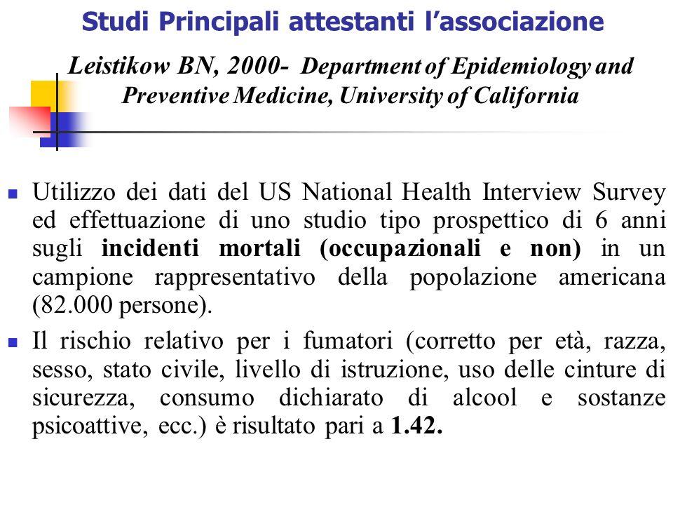 Studi Principali attestanti lassociazione Utilizzo dei dati del US National Health Interview Survey ed effettuazione di uno studio tipo prospettico di