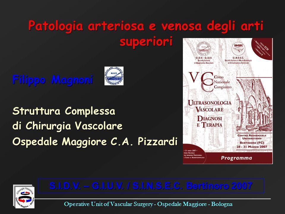 Operative Unit of Vascular Surgery - Ospedale Maggiore - Bologna Patologia arteriosa e venosa degli arti superiori Filippo Magnoni Struttura Complessa