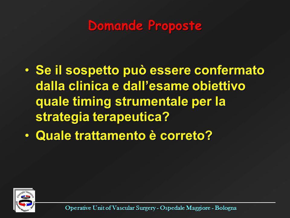 Operative Unit of Vascular Surgery - Ospedale Maggiore - Bologna Domande Proposte Se il sospetto può essere confermato dalla clinica e dallesame obiet