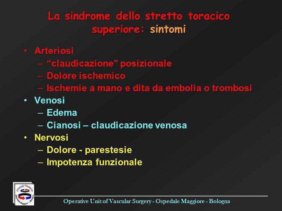 Operative Unit of Vascular Surgery - Ospedale Maggiore - Bologna ArteriosiArteriosi –claudicazione posizionale –Dolore ischemico –Ischemie a mano e di