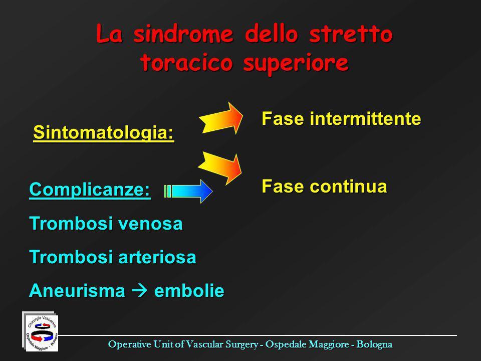 Operative Unit of Vascular Surgery - Ospedale Maggiore - Bologna La sindrome dello stretto toracico superiore Fase intermittente Fase continua Sintoma