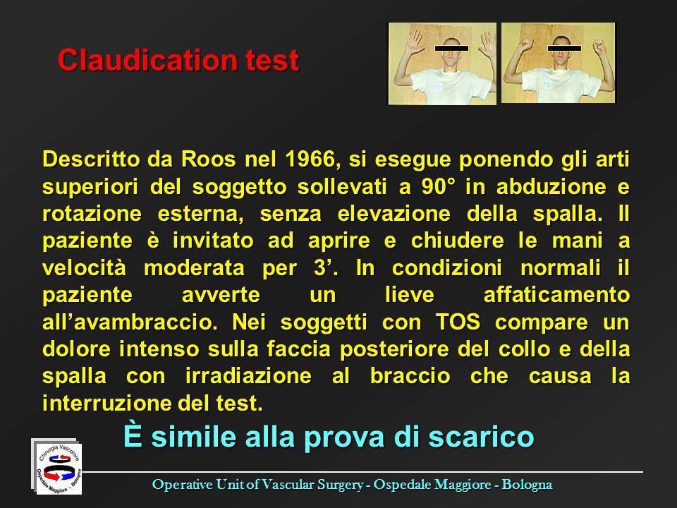 Operative Unit of Vascular Surgery - Ospedale Maggiore - Bologna Claudication test Descritto da Roos nel 1966, si esegue ponendo gli arti superiori de