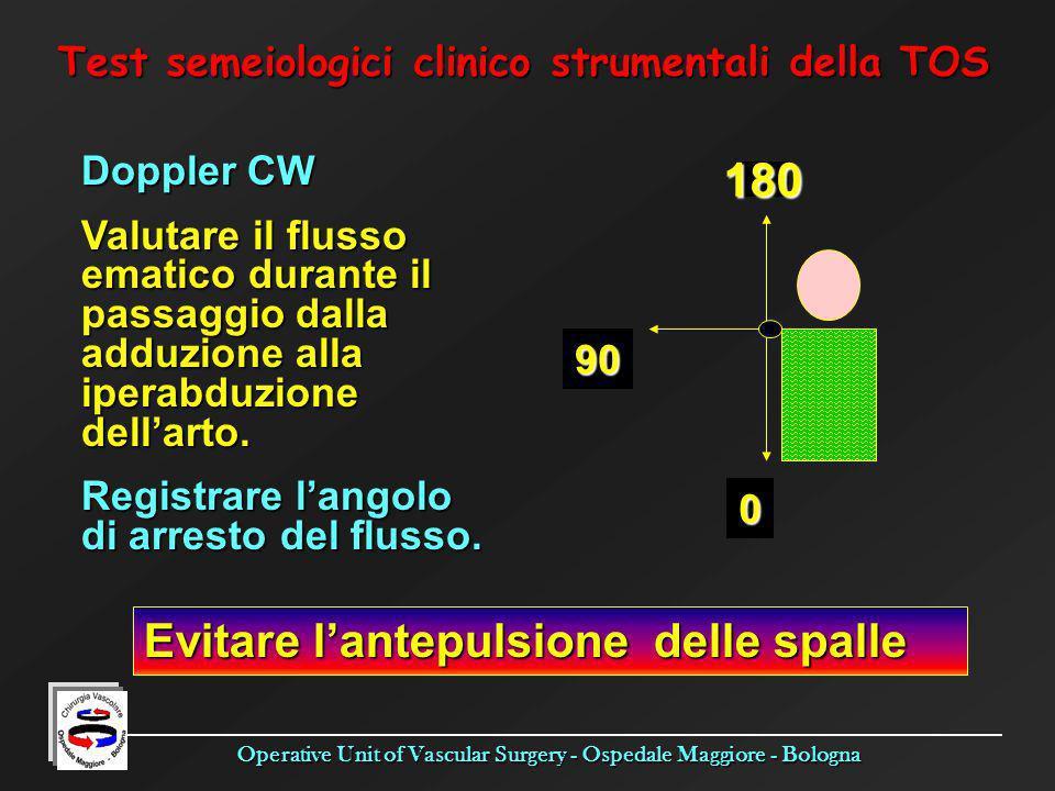 Operative Unit of Vascular Surgery - Ospedale Maggiore - Bologna Test semeiologici clinico strumentali della TOS Doppler CW Valutare il flusso ematico