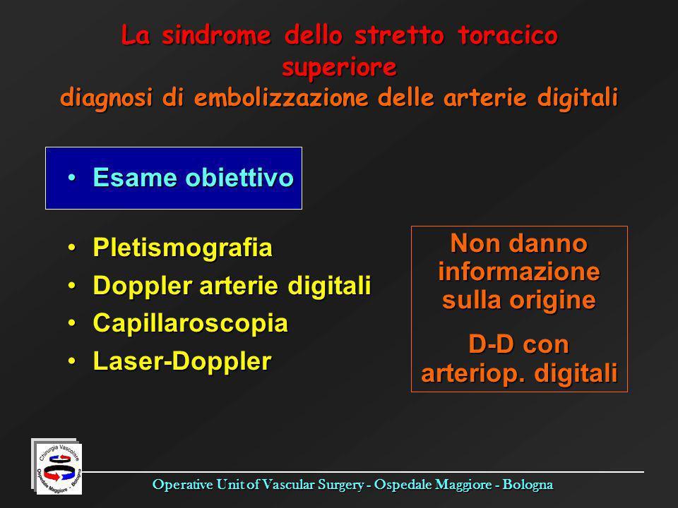 Operative Unit of Vascular Surgery - Ospedale Maggiore - Bologna Esame obiettivoEsame obiettivo PletismografiaPletismografia Doppler arterie digitaliD