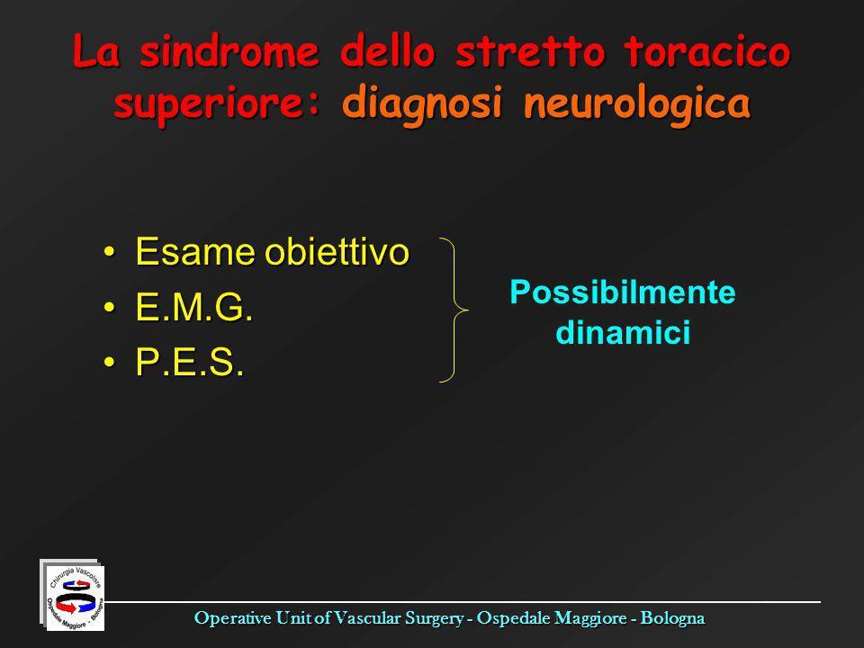 Operative Unit of Vascular Surgery - Ospedale Maggiore - Bologna Esame obiettivoEsame obiettivo E.M.G.E.M.G. P.E.S.P.E.S. La sindrome dello stretto to