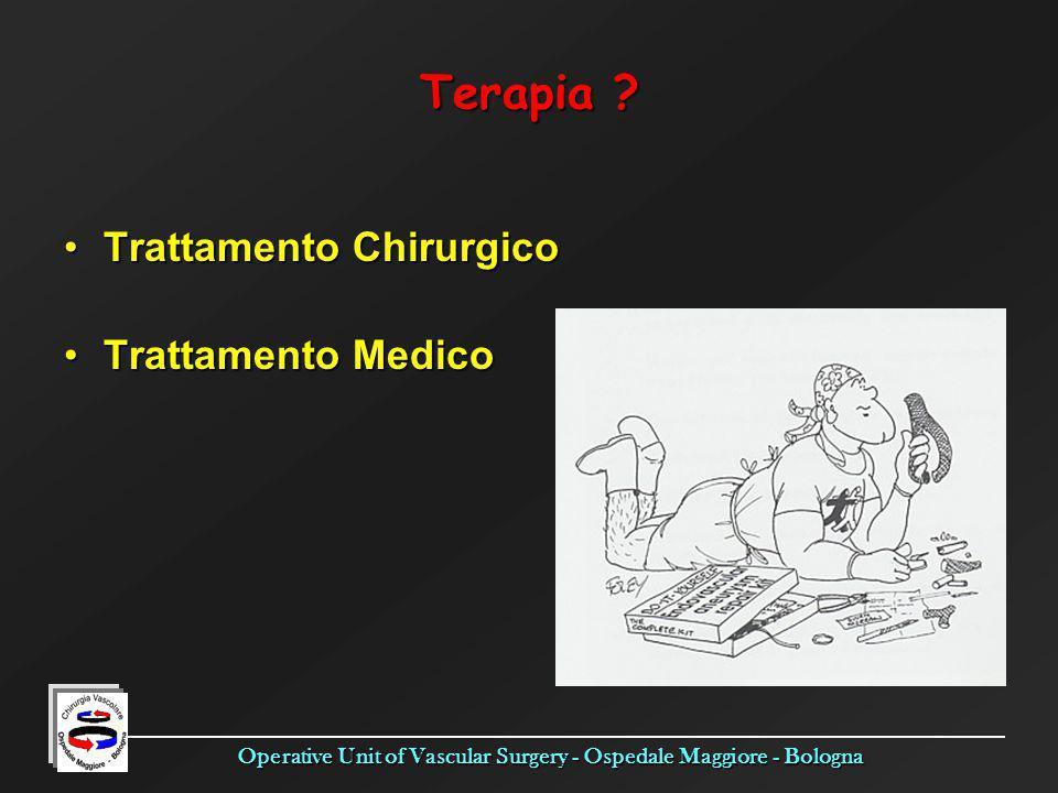 Operative Unit of Vascular Surgery - Ospedale Maggiore - Bologna Terapia ? Trattamento ChirurgicoTrattamento Chirurgico Trattamento MedicoTrattamento