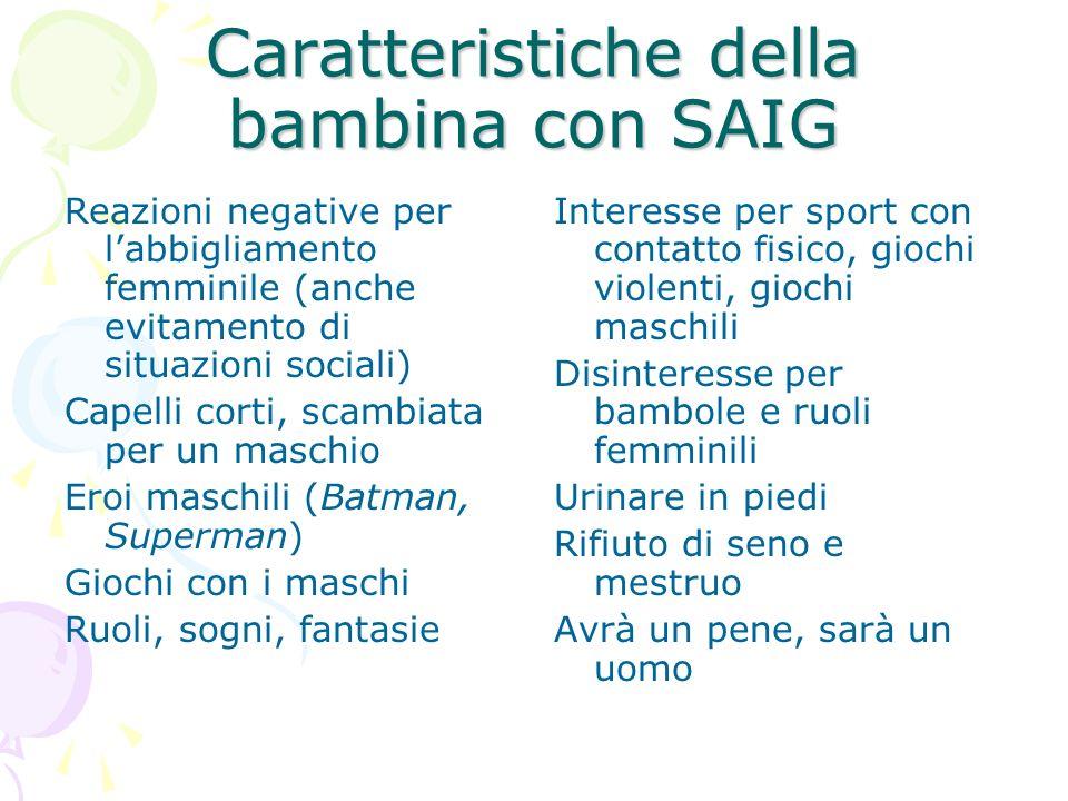 Caratteristiche della bambina con SAIG Reazioni negative per labbigliamento femminile (anche evitamento di situazioni sociali) Capelli corti, scambiat