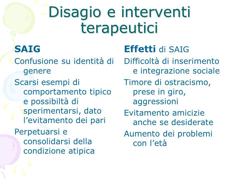 Disagio e interventi terapeutici SAIG Confusione su identità di genere Scarsi esempi di comportamento tipico e possibiltà di sperimentarsi, dato levit