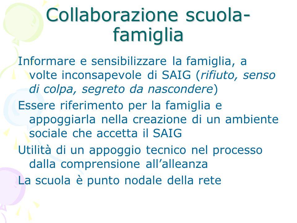Collaborazione scuola- famiglia Informare e sensibilizzare la famiglia, a volte inconsapevole di SAIG (rifiuto, senso di colpa, segreto da nascondere)