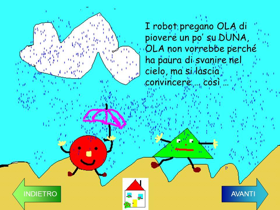 I robot pregano OLA di piovere un po su DUNA, OLA non vorrebbe perché ha paura di svanire nel cielo, ma si lascia convincere … così … INDIETRO AVANTI