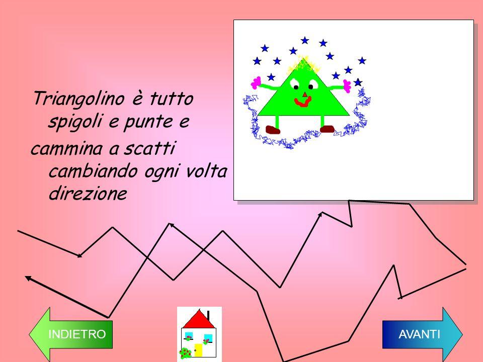 Triangolino è tutto spigoli e punte e cammina a scatti cambiando ogni volta direzione INDIETRO AVANTI